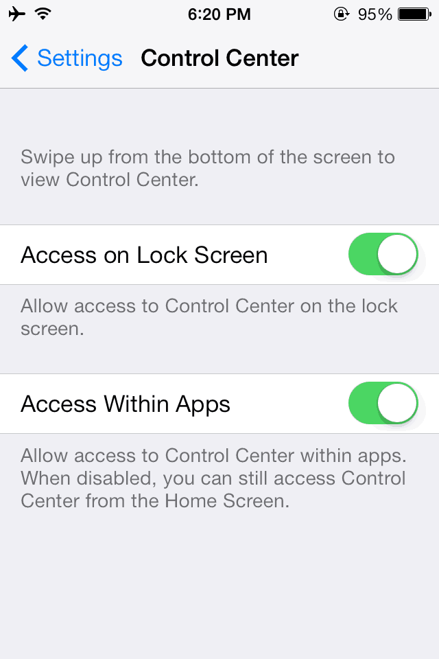 iOS 7 Control Center Settings
