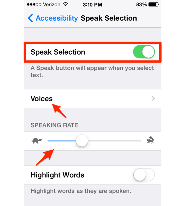 Voice-Over-Speak-Selection