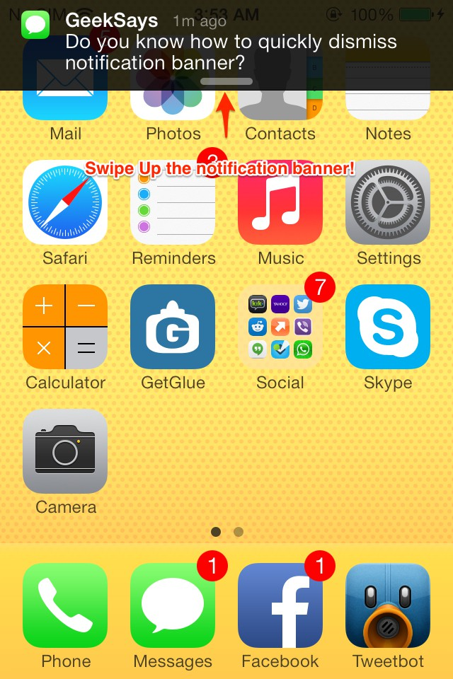 how to iOS 7 dismiss notification bar