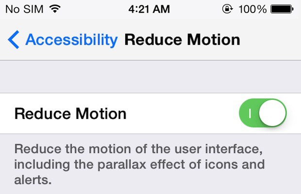 Reduce Motion To Fix iOS 7 Battery Drain