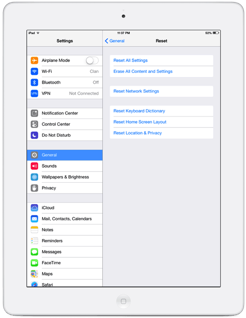 how to go to settings on ipad air2