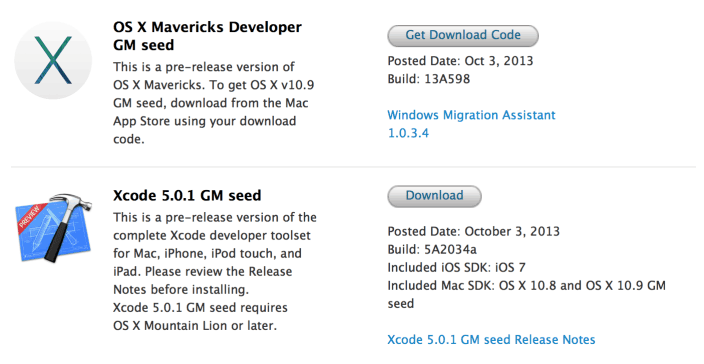 download OS X Mavericks Gold Master