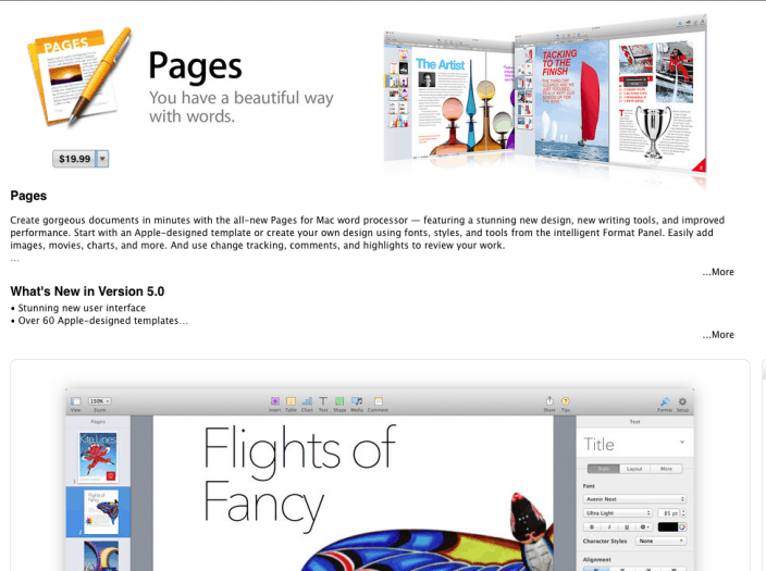 iWork for OS X Mavericks