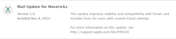 Mail Update Mavericks