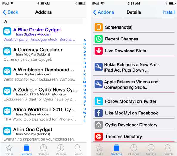 Cydia v1.1.9 for iOS 7