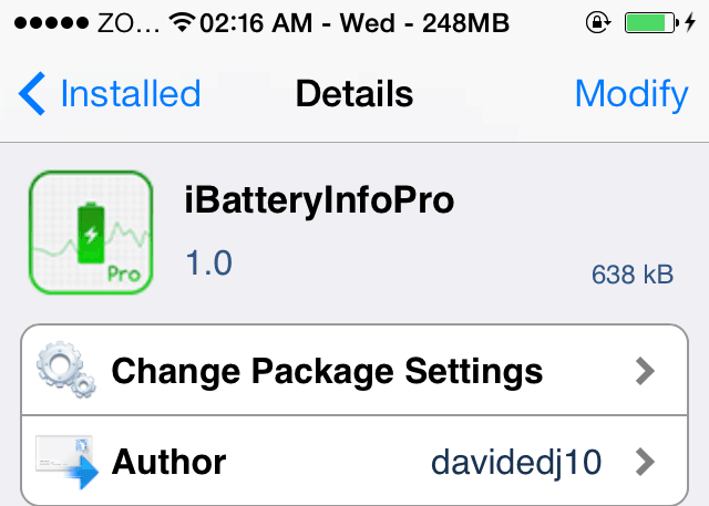 iBatteryInfoPro iPhone Tweak