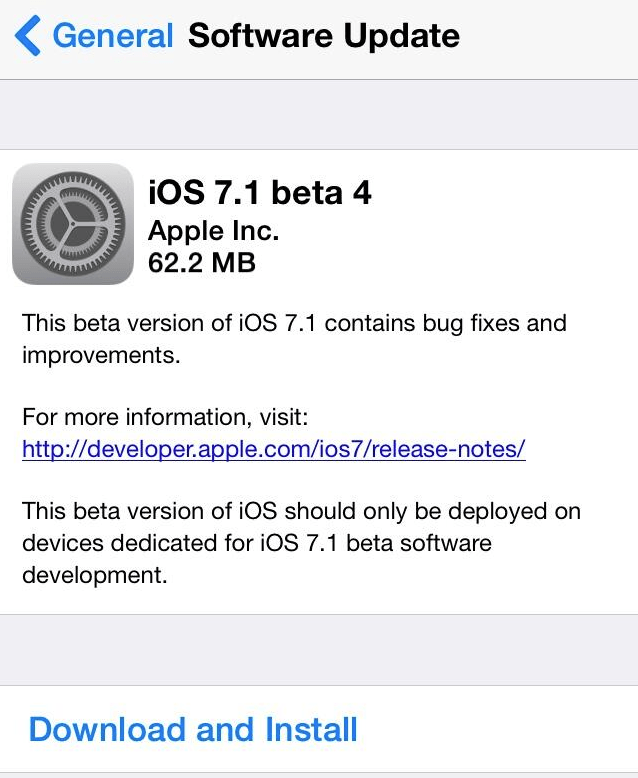 iOS 7.1 beta 4 download