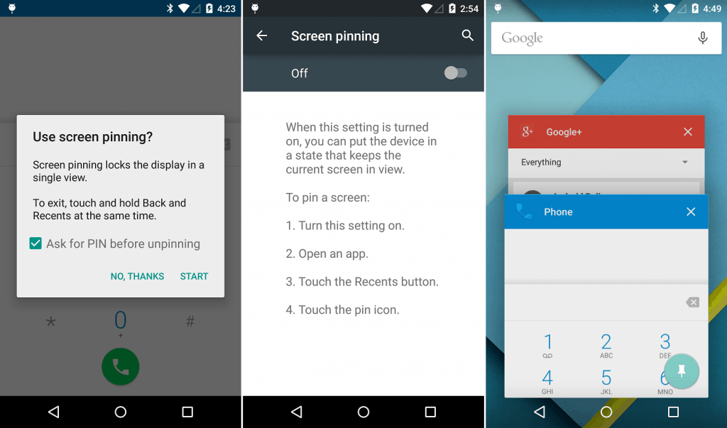 android lollipop application pinning