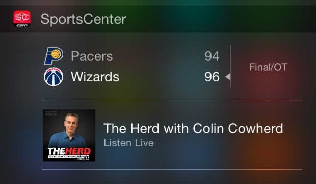 espn sports center ios widget