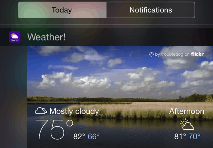 yahoo weather ios widget