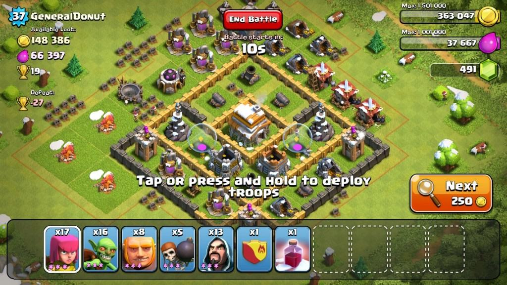 clash of clans next button