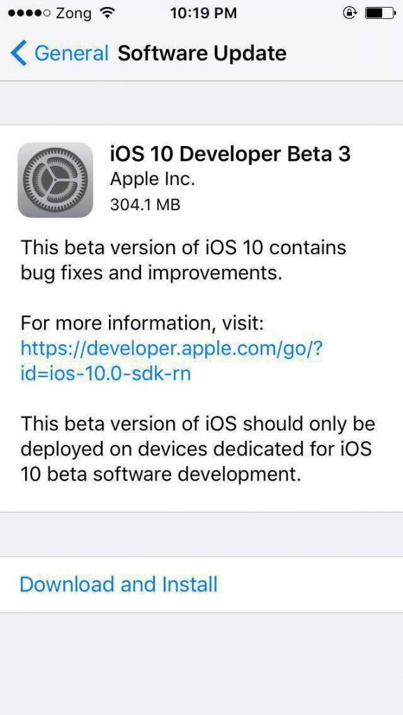 iOS 10 Beta 3 Download