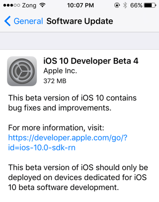 iOS 10 Beta 4 download