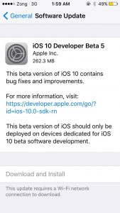 iOS 10 Beta 5 Download Is Available for iPhone/iPad