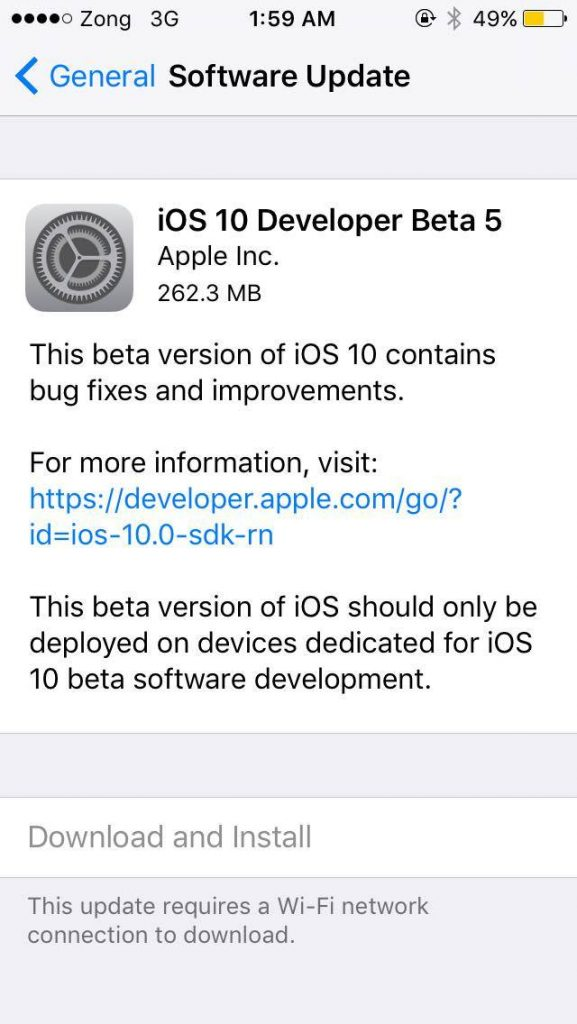 iOS 10 beta 5 download
