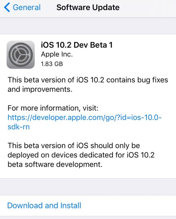 iOS 10.2 beta update