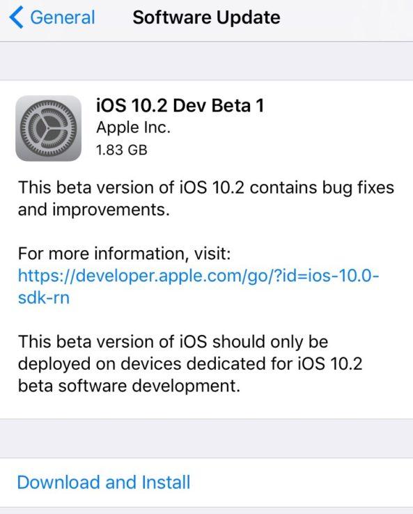iOS 10.2 beta update