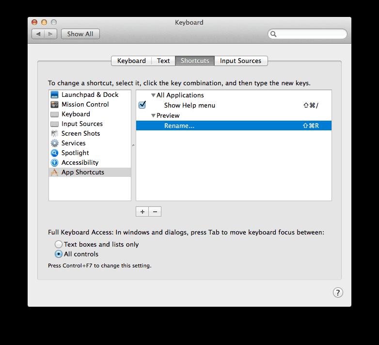 Custom Keyboard Shortcut OS X Mavericks