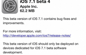 iOS 7.1 Beta 4 Download Goes Available