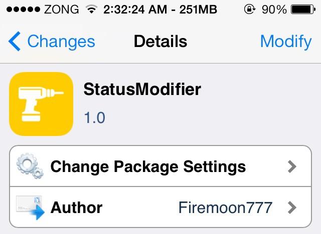 statusmodifier cydia tweak