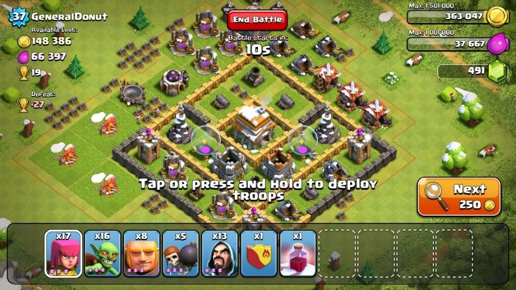 clash of clans next button