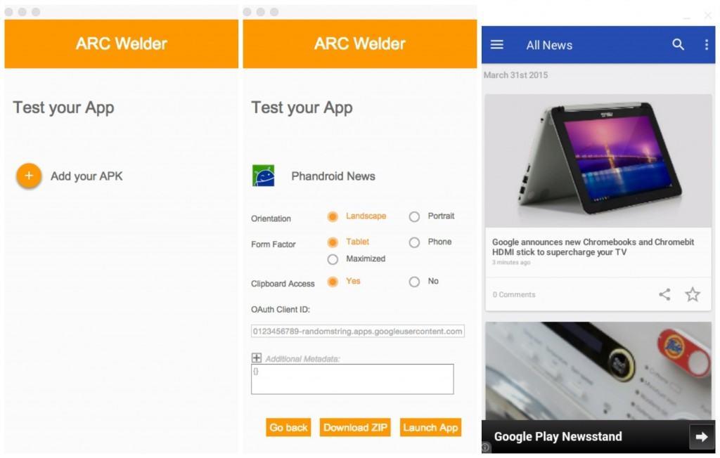 run Android apps on Windows PC - ARC-Welder-Chrome-app