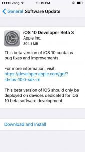 iOS 10 Beta 3 Download Released for iPhone and iPad