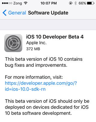 iOS 10 Beta 4 download