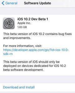 Apple Released iOS 10.2 Beta Update for iPhone/iPad