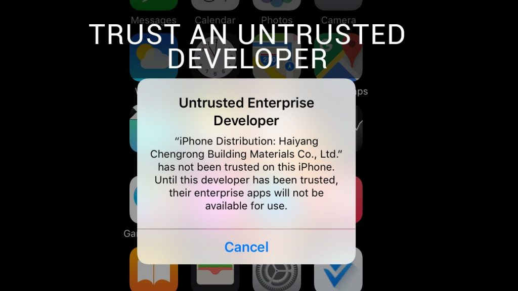 fix untrusted enterprise developer