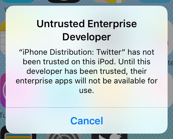 untrusted developer certificate fix